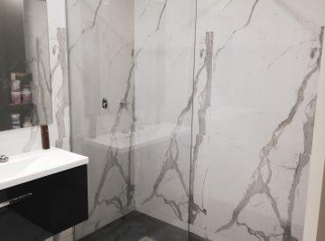 resguardo frontal de banheira duche em vidro fixo temperado