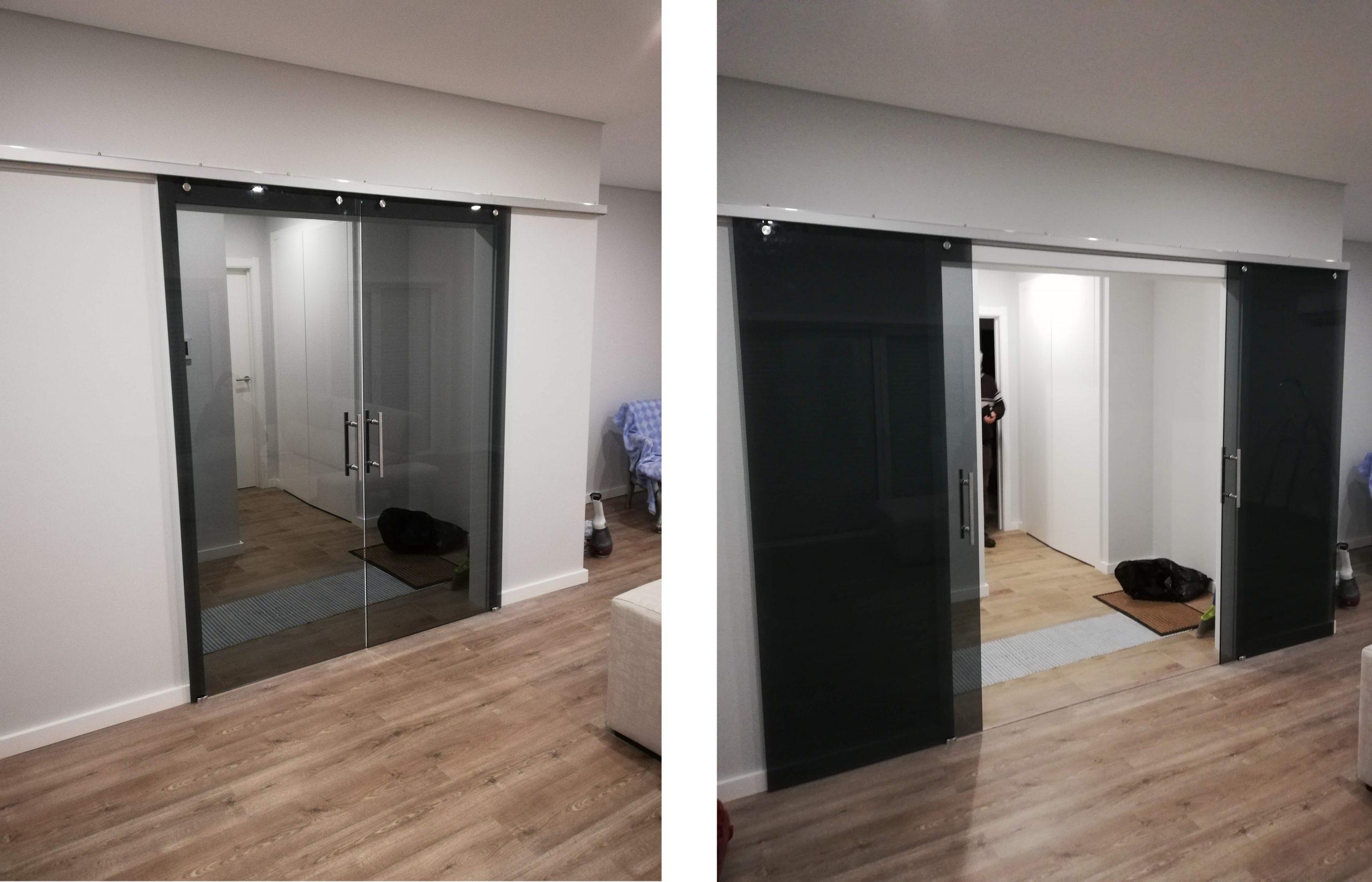 Portas correr vidro temperado gris 10mm calha aluminio fixacao lateral