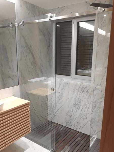 resguardo banheira duche 2 fixo 1 porta correr vidro.