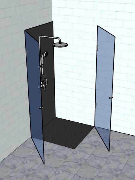 resguardo frontal banheira duche 2 portas abrir vidro temperado 2